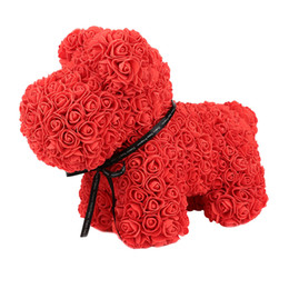Chinese  Practical Boutique Valentines Gift 37Cm Romantic Artificial Rose Dog For Wedding Girlfriend Anniversary Gift Creative Diy Pres manufacturers