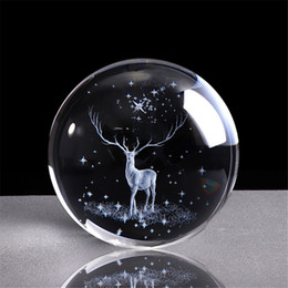 Storm Glasses Australia - 3D Crystal Wapiti Ball Figurine Feng Shui Office Decorative Storm Glass Ball Balls Ornaments Animal Wapiti Statue Craft