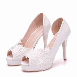 $enCountryForm.capitalKeyWord Australia - Crystal Queen Sexy Lace Flower Women Wedding Pumps Ladies 11CM High Heels Female Peep Toe Hollow Out Platform Shoes Sandals