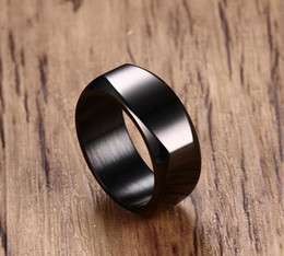 $enCountryForm.capitalKeyWord NZ - 8MM titanium steel rings for men's rings Fashion 316L Stainless Steel Punk Black Ring Wedding Engagement Ring Square rings