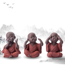 El yapımı Buda Çay Hayvan mor kum buda Monk çay tepsisi dekor aksesuar Kung Fu çay seti K001