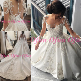 $enCountryForm.capitalKeyWord Australia - Fabulous Illusion Lace Satin Dubai Arabic Wedding Dress Jewel Neck Long Sleeve Covered Button Court Train Bridal Wedding Gowns