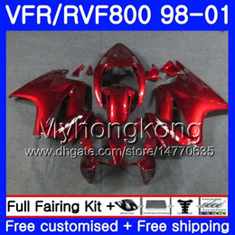 honda vfr interceptor fairings Australia - Body For HONDA Interceptor VFR800R VFR800 1998 1999 2000 2001 259HM.44 VFR 800RR VFR 800 RR VFR800RR 98 99 00 01 Fairing Factory red hot kit