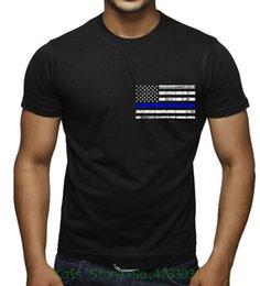 Fino Linha Azul Dos Homens Da Polícia Da Bandeira Preto camiseta Preto Moda Masculina E Mulher Camiseta Frete Grátis venda por atacado