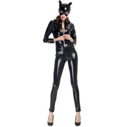 $enCountryForm.capitalKeyWord Australia - New Black Patent Leather Catsuit Sexy Catwoman Costume Adults Cosplay Bodysuit Stretchable Jumpsuit Carnival Costumes Womens