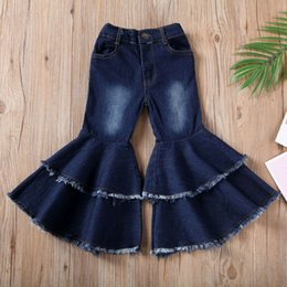 baby floral boots UK - Girls Jeans Sweet Toddler Infant Kids Baby Boot Cut Bell-bottom Blue Flare Ruffle Trousers Wide leg Denim Pants