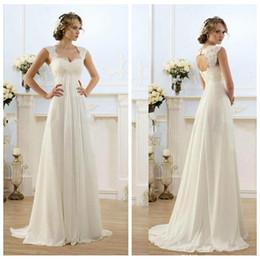 $enCountryForm.capitalKeyWord Australia - Lace Top Empire Waist A-Line Wedding Dresses Chiffon 2019 Long Bridal Gowns Custom Sleeveless Sweep Train Ladies Pregnant Dress Spring