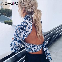 vintage chiffon blouse print 2019 - Flare Ruffle Tunic Blouse Women Lantern Long Sleeve Print Crop Top Shirt Summer Vintage Backless Blouse Sexy Soft discou