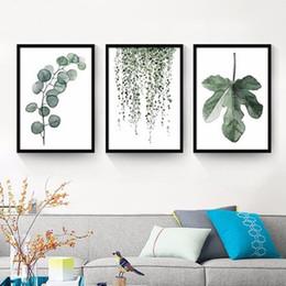 Painting Plants Australia - Modern decorative garden green plant leaves small fresh combination simple decorative painting core frameless painting wholesale