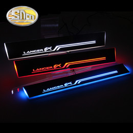 Mitsubishi door online shopping - SNCN Car LED Door Sill For Mitsubishi Lancer Ultra thin Acrylic Flowing LED Welcome Light Scuff Plate Pedal