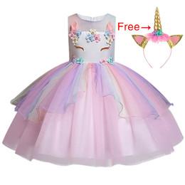 4ec71d4415 3-10 year Teens girl dream unicorn Dress Children Kids birthday Party Dress  Girl Formal prom Girls Princess Dress +