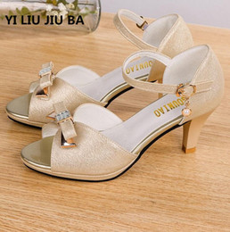 $enCountryForm.capitalKeyWord Australia - Hot Sale Summer Shoes Woman Sandals Mid Heel Women Shoes Open Toe Sandals Casual Bow Beading Wedding Sandals Zapatos Mujer **300 Y19070203