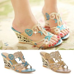 Flower Cutouts Australia - 2015 Flower Cutout Wedges Summer Shoes Big Size 34-43 Fashion Women Rhinestone Sandals High Heels Flip Flops Wedges Shoe