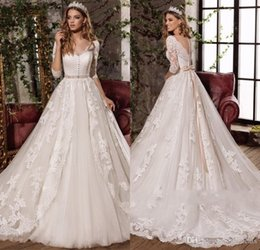 Wholesale A line V Neck Lace Wedding Dresses Half Sleeves Bridal Dresses with Removable Beaded Sash Custom Made Wedding Gowns Overlay Skirt