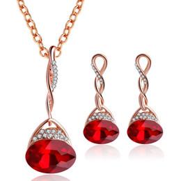 $enCountryForm.capitalKeyWord Australia - LSHOU02 Woman Wedding Set Crystal Neck Stud Earrings Two-Piece Set Water Drop Copper Alloy