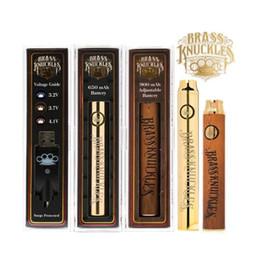 Gold knuckles online shopping - Brass Knuckles Battery mah mah Gold Wooden Variable Voltage Vape Pen For Thraed Thick Oil vape Cartridges vape pen kit battery