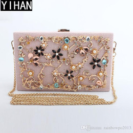 Discount fashion trend evening Factory independent brand handbags fashion exquisite diamond evening dinner package trend cotton and linen alloy hard bo