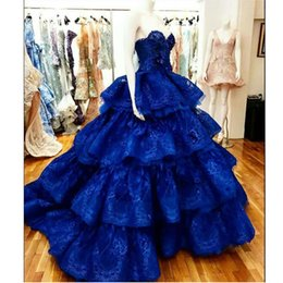 celebrities red carpet skirt UK - Stylish Royal Blue Ball Gown Evening Dresses Sweetheart Ruffles Tiered Skirt Celebrity Gown Lace Appliques Sequined Pageant Gowns