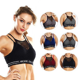 black gauze t shirt Australia - Womens sports shockproof Bra Sexy yoga Tube Top sportwear Sleeveless Crop Top gym Hollow out gauze two piece set T-Shirts Strap Tanks vest