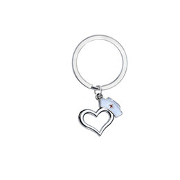 $enCountryForm.capitalKeyWord UK - 12PC Wholesale Love Heart Cap Keyring Medical Key Ring Charm Nurse Graduation Gift Women Men School Charm Keychain Family Friend