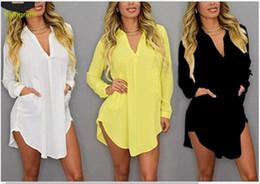 $enCountryForm.capitalKeyWord Australia - Women's long sleeve V-collar irregular chiffon shirt dresses nightclub Bikini Beach Swimsuit party 2019 6 colour black white yellow red grey