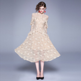 $enCountryForm.capitalKeyWord Australia - Fashion Elegant Lady and Girl's Lace wool Panelled Dresses,Hook Floral Midi Skirts,Autumn and Winter