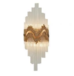 Crystal wall lights design online shopping - luxury design glass wall lamp gold wall sconce light Dia25 H60cm lustre bedroom lighting LLFA
