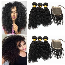 raw virgin hair bundles lace closure UK - A Raw Kinky Curly Hair Bundles With 4x4 Hair Closure Brazilian 100 %Virgin Human Hair Weaves With Lace Closure Natural Color 8 -20 Inch