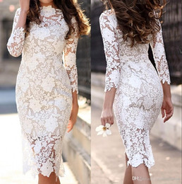 $enCountryForm.capitalKeyWord Australia - 2019 New Vintage Lace Knee Length Sheath Fitted Wedding Dresses With 3 4 Sleeves Sheer Sleeves Reception Outdoor Wedding Bridal Gowns