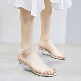 $enCountryForm.capitalKeyWord Australia - Hot Selling Item Summer Fashion Vogue Shoes High Heeled Clear Pure Color Transparent Plastic Sandals for Women Ladies Girls Slippers