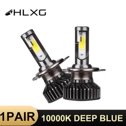 Discount small plug led lights 2 pcs HLXG H4 12V 10000LM 10000K Blue Light lamp LED Headlight High low beam Driver IP68 Power 50W Small size Plug and P