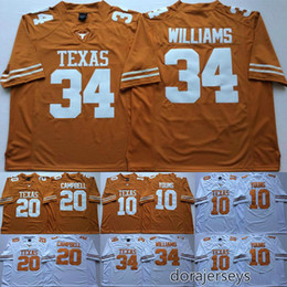 buffalo bills jerseys Canada - Texas Longhorns College Football Jerseys 10 Vince Young 20 Earl Campbell 34 Connor Williams Men Stitched NCAA Jersey New Arrival