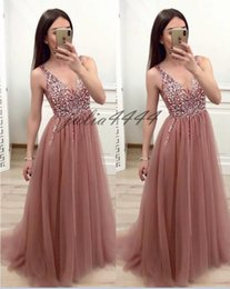 backless prom dress patterns Canada - Plunging V Backless Evening Prom Dresses Bling Beaded Crystal Sequin Tulle Long Dresses Evening Wear de soiree robeS Cocktail Dress