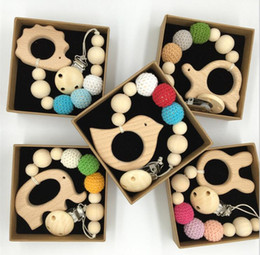 Wholesale DIY Silicone Pacifier Clip Chain Baby Teething Soother Chew Toy Dummy Clips Beech Beads Cartoon Wooden Pendant Newborn Gift