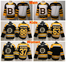 d6913b8c6d2 Men Lady Youth Boston Bruins Jersey Ice Hockey 37 Patrice Bergeron 63 Brad  Marchand 88 David Pastrnak Women Jerseys Black Man Kids Children