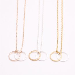 Two Face Coin UK - Digit zero symbol Pendant necklace Two connection circles Pendant necklace the to women