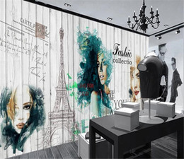 $enCountryForm.capitalKeyWord NZ - Low Price For Wallpaper European and American fashion wood style watercolor beauty clothing store background wall wallpaper