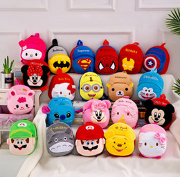 kids school bags spiderman Australia - 25*20*10CM plush Backpack schoolbag hellokitty pooh spiderman Monkey School Bags Girls Boys Back pack 20-30 styles New Term Kids kidergarden