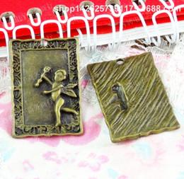 $enCountryForm.capitalKeyWord Australia - 40pcs 31*21MM Antique bronze tibetan angel fairy ornament charms for bracelet vintage metal pendant for earring handmade DIY jewelry making