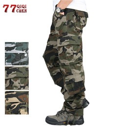 Blue Cargo Trousers Australia - Camouflage Cargo Pants Men Tactical Army Trousers Combat Baggy Multi Pockets Overalls Army Pants Joggers Plus Size 42