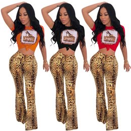 Wholesale Leopard Print Beads Australia - Women two piece pants Flared trousers crew neck short sleeve print t-shirt Leopard Beads Rhinestone bodycon leggings ankle-length pants 662