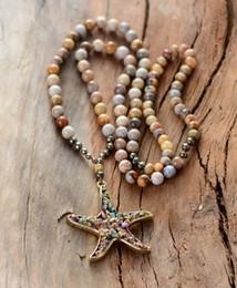 $enCountryForm.capitalKeyWord Australia - Women Vintage Necklace 8mm Chrysanthemum Stone Pyrite Starfish Pendant Necklace Handmade Beaded Women Lariat Necklace J190625