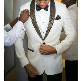 Gold Ivory Tuxedos For Groom NZ - Slim Fit Two Piece White Wedding Groom Tuxedos Gold Shawl Lapel Men Suits for Prom Evening Formal Party Wear (Jacket+Pants+Tie)