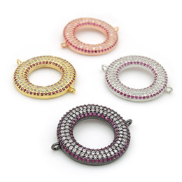 Micro Pave Connectors Australia - 26*22*3mm Micro Pave Clear&Red CZ Ring Charm Connectors Fit For Men And Women Making Bracelets Jewelry