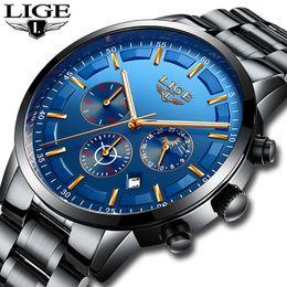 Luxury Fashion Brand Quartz Watch Australia - Lige Men Fashion Sport Quartz Clock Mens Watches Top Brand Luxury Full Steel Business Waterproof Watch Relogio Masculino C190420