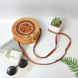 Shoulders Knots Australia - ABDB-Women Handwoven Rattan Round Bag Shoulder Leather Straps For Outdoor Leisure Bag Color: Chinese Knot
