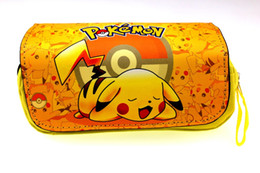 Watermelon Cosmetic Bags Cases UK - Pocket Monster Pencil Case Pencil Bag Anime Pikachu Go Pen Bag Zipper Cosmetic Cases Makeup Women Handbag