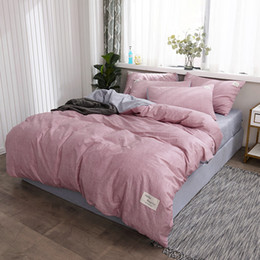 Plain Pink Black Bedding Australia - Pure Cotton Brief Style Bedding Sets Bed Duvet Cover Flat Fitted Bed Sheet Pillowcase Solid Color Pink Plaid Black And White