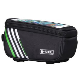 B Touch Mobile Phone UK - B-SOUL Waterproof Touch Screen Bicycle Bags Cycling Bike Front Frame Bag Tube Pouch Mobile Phone Storage Bag #330583