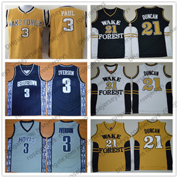 148bd360ba1 NCAA Georgetown Hoyas  3 Iverson Gray Navy Blue Retro Wake Forest Demon  Deacons  21 Duncan Black White Yellow Allen Tim Paul Vintage Jersey